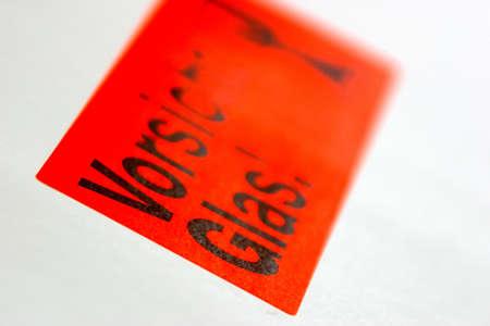 Vorsicht Glas label