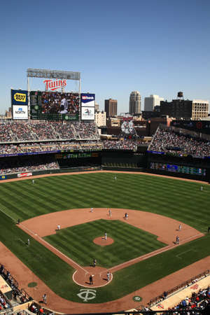 Minneapolis, April 22, 2010: Target Field, brand new ballpark of the Minnesota Twins returns outdoor baseball to the twin citiesのeditorial素材