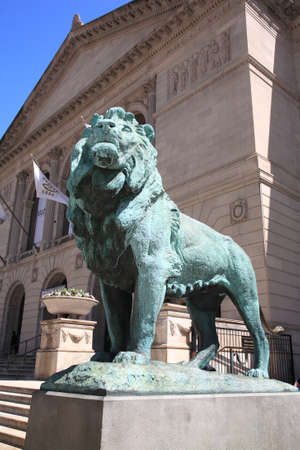Chicago, Illinois - April 26, 2010: Chicago Art Institute near Grant Park in Chicago, Illionois. Famous lion statues are found outside on Michigan Avenue.