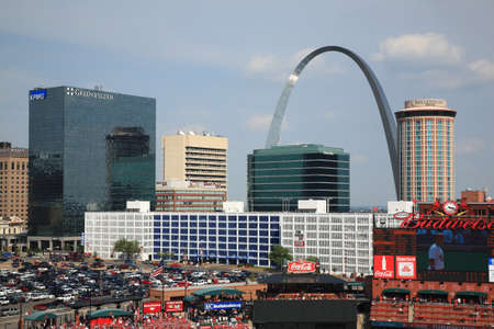 St. Louis, September 18, 2010: Fans gather for a late season Cardinals game at Busch Stadium, under the Gateway Arch.