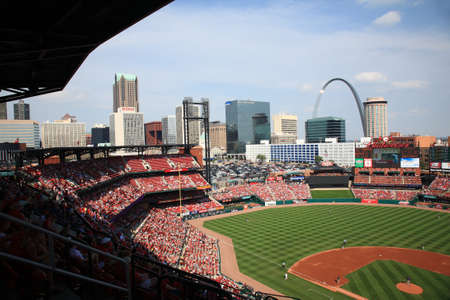 St. Louis, September 18, 2010: The Gateway Arch towers over a Cardinals game at Busch Stadium.