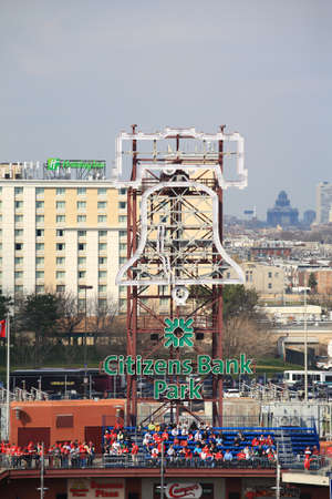 Philadelphia, Pennsylvania - April 7, 2011: Libert Bell displayed at Citizens Bank Park, home of the Philadelphia Phillies.