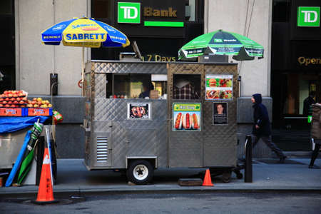 New York - March 27, 2013:  Food stand on a Manhattan street.