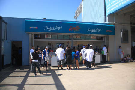 Los Angeles - July 1, 2012: Dodger Stadium concession stand during a Dodgers baseball game.