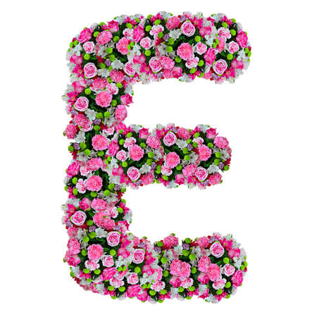 E, flower alphabet isolated on white with clipping path