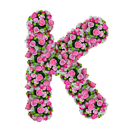 K, flower alphabet isolated on white with clipping path