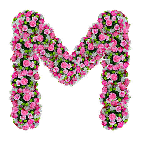 M, flower alphabet isolated on white with clipping path