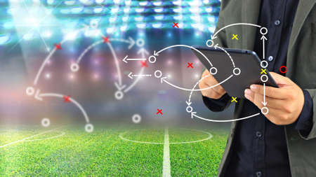 Photo for Football manager plan tactics. - Royalty Free Image