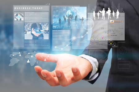 businessman holding virtual screen.business concept