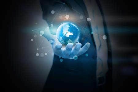Photo pour hand holding digital world. - image libre de droit