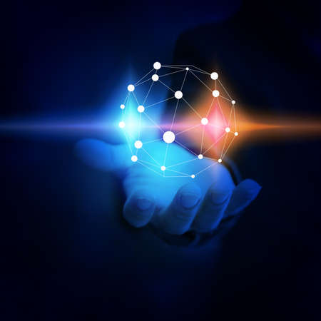 Businessman holding glowing globe. world connected, social network conceptの写真素材