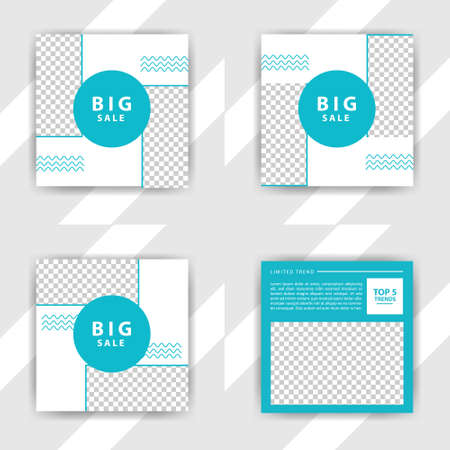 Photo pour Social media pack. Business presentation template. Set of modern square blog posts Editable simple info banner, trendy book cover idea. Minimal. For app, web mail digital display style. beauty cards - image libre de droit