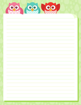Some cute little owls at the top of a piece of stationery. Easy to edit layered file.