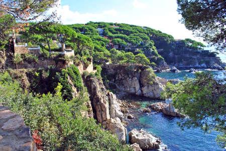 Rocky coast of a sea bay in Spain.