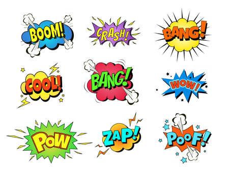 Ilustración de Collection of nine multicolored comic sound Effects. Vector cartoon explosions with different emotions - Imagen libre de derechos