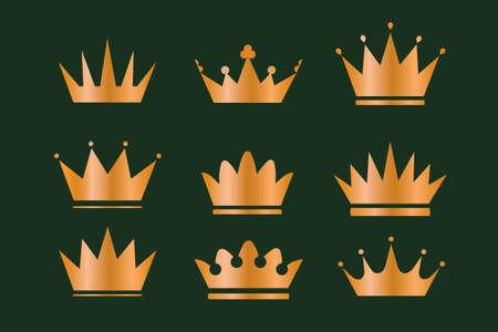 Illustration pour Beautiful gold wreathes set with wheat ears oak laurel olive branches and royal crowns. Set of Geometric vintage crown - image libre de droit