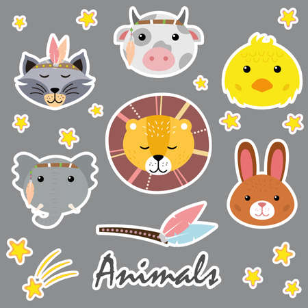 Illustration for Cute animals. Hand drawn characters. Bow, bunny, chick, lion, raccoon, elephant. - Royalty Free Image