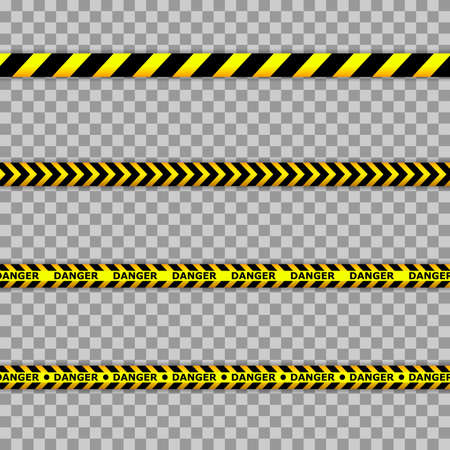 Illustration for Caution lines isolated. Warning tapes. Danger signs. Black and yellow line striped. - Royalty Free Image