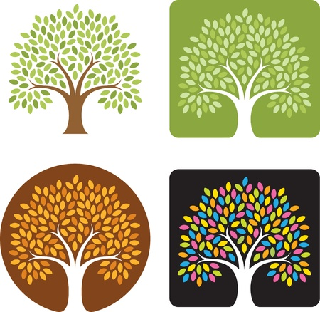 Stylized Tree Logo Illustration in four color combinations, spring, summer, fall, and candy colored extravaganza! Great for logos!