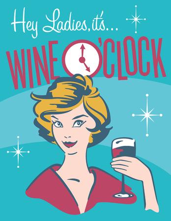 Foto de Wine O'clock retro wine design.  Vintage, retro vector illustration of pretty woman drinking wine - Imagen libre de derechos