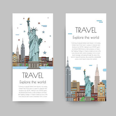 A set of banners for the Internet by the landscape of the city. Vector illustrations with urban landscape of New York