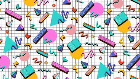 Illustration pour Bright pattern 80's. Background checkered bumage.Abstraktne geometric shapes. Illustration for hipster Memphis style. - image libre de droit