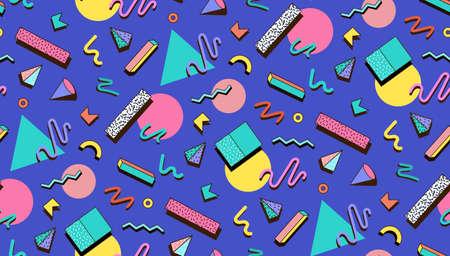 Illustration pour Bright template 80s. Abstraktne geometric shapes on a blue background. Illustration for hipster Memphis style. - image libre de droit
