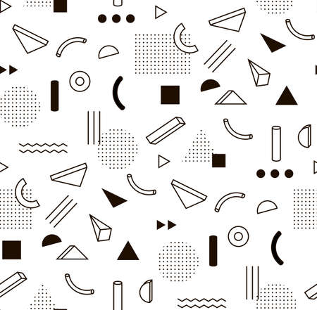 Ilustración de pattern with black and white geometric shapes. Hipster fashion Memphis style. - Imagen libre de derechos