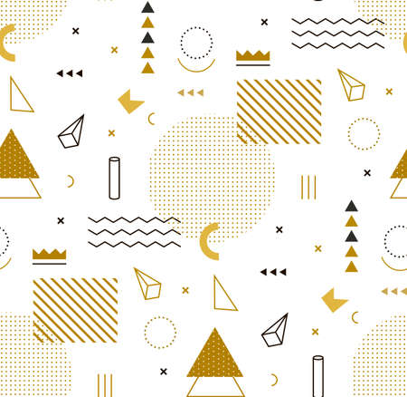 Illustration pour Geometric gold pattern for fashion and wallpaper. Memphis style for fashion. - image libre de droit