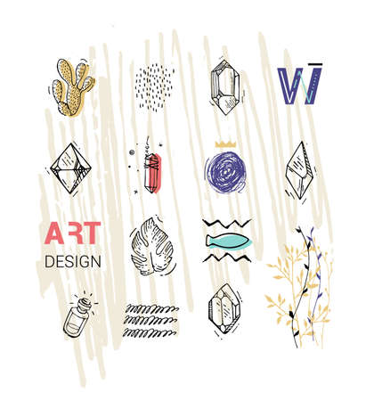 Cover for the magazine with hand drawn elements. Diamonds crystals spots plants hipster style. Modern trends of cards.