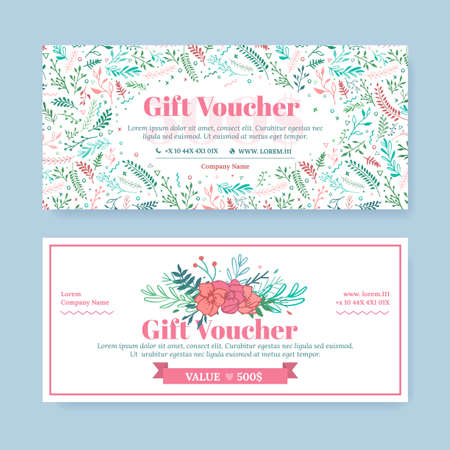 Illustration pour Gift certificate with delicate painted flowers in boho style. Business floral card template. The concept of boutique, jewelry, flower shop, beauty salon, spa, fashion, flyer, banner design. - image libre de droit