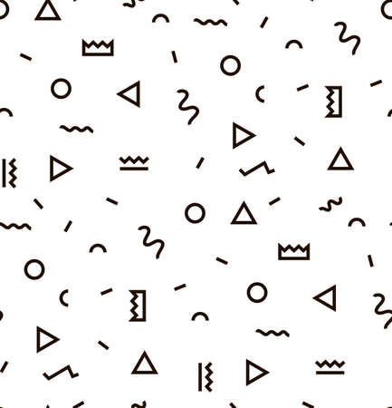 Illustration for Geometric Vector pattern with black and white. Form a triangle, a line, a circle. Hipster fashion Memphis style. - Royalty Free Image