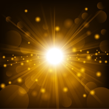 Gold shine with lens flare background