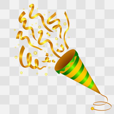 Illustration pour Exploding Golden Confetti Popper on transparency background - image libre de droit