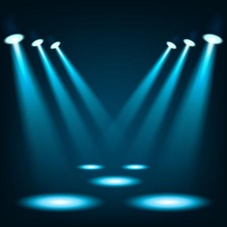 Photo pour Blue spotlights shining in dark place background - image libre de droit