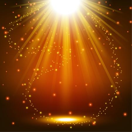 Illustration pour Elegant lights shining with flying sparks background - image libre de droit