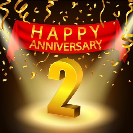 Illustration pour Happy 2nd Anniversary celebration with golden confetti and spotlight - image libre de droit