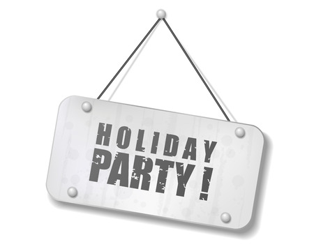 Vintage old chrome sign with Holiday party text, Vector Illustration