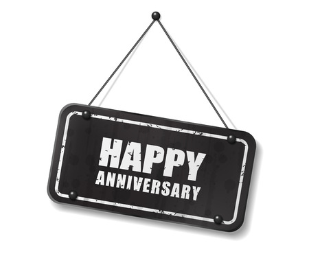 Vintage old black sign with Happy Anniversary text, Vector Illustration