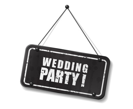 intage old black sign with Wedding Party text, Vector Illustration