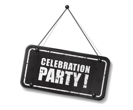 Vintage old black sign with Celebration party text, Vector Illustration