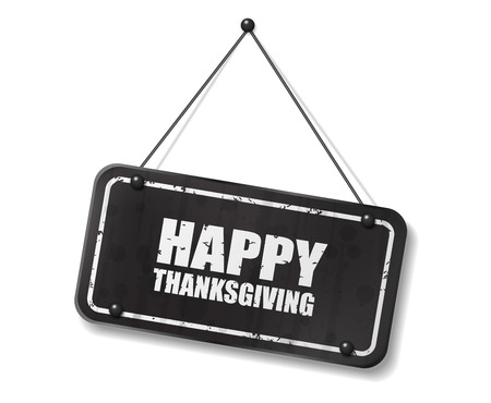 Vintage old black sign with Happy Thanksgiving text, Vector Illustration