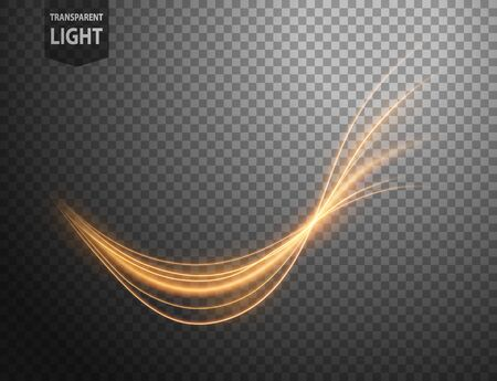 Illustration pour Abstract gold wavy line of light with a transparent background, isolated and easy to edit. Vector Illustration - image libre de droit