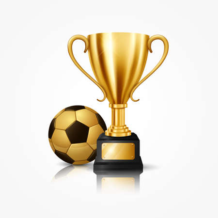Illustration pour Realistic Golden Trophy with Soccer Ball, isolated on white background. Vector Illustration - image libre de droit