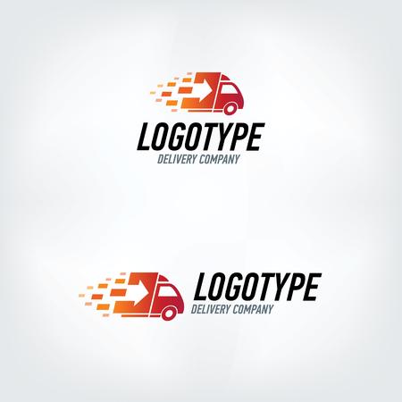 Illustration pour Delivery company logo. Fire logotype. Fast delivery car. - image libre de droit