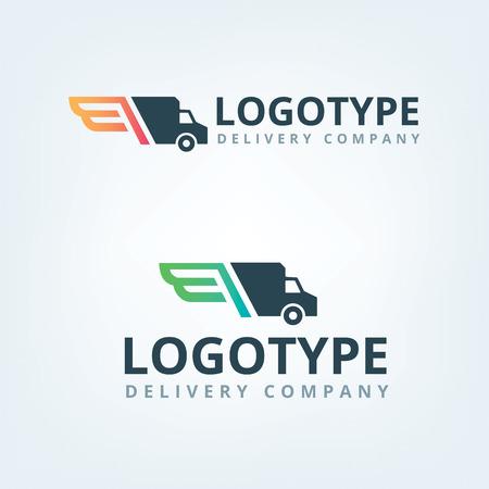 Foto de Delivery company logo. Wings logotype. Delivery car. - Imagen libre de derechos