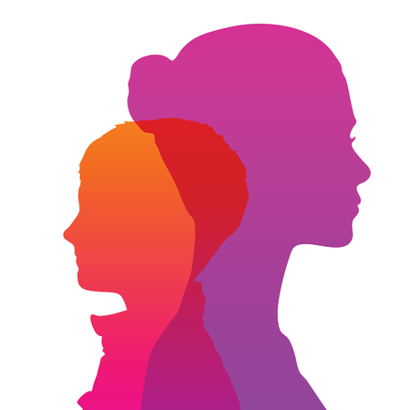 Illustration for Silhouette of head, face in profile - Royalty Free Image