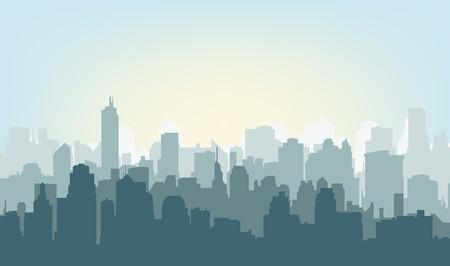 Foto de Morning city silhouette. Silhouette of the city at sunrise - Imagen libre de derechos