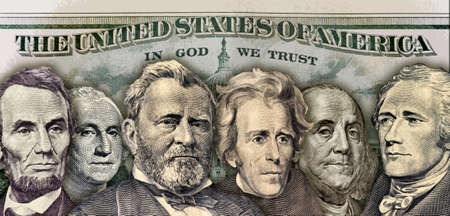 Background image with money and U S  Presidents
