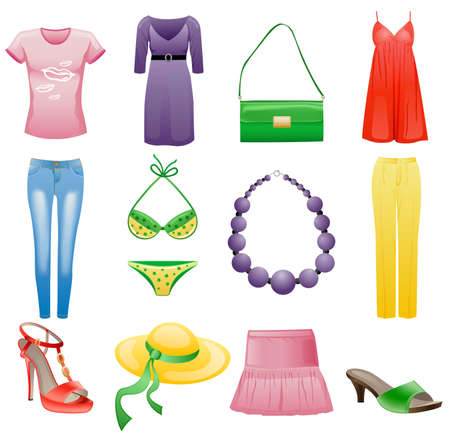 Women's clothes and accessories summer icon set. Isolated on white background.